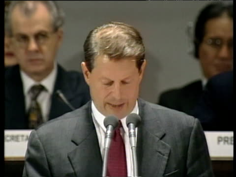 us vice president al gore voices us stance on kyoto protocol at united nations convention on climate change kyoto japan 08 dec 97 - gore stock videos and b-roll footage