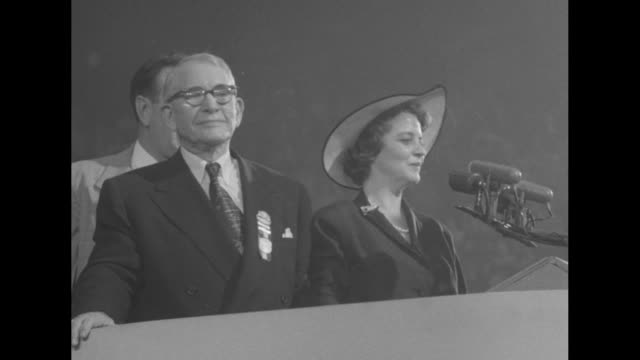 Vice President Alben Barkley and wife Jane Hadley Barkley on dais at 1952 Democratic National Convention at the International Amphitheatre in Chicago...