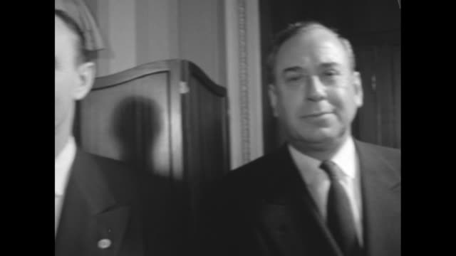 stockvideo's en b-roll-footage met us vice president alben barkley senate president swearing in row of new senators from left to right john kennedy henry m jackson prescott bush and... - styles bridges
