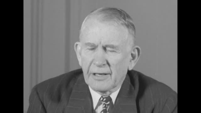 Vice President Alben Barkley sitting at desk talking to camera SOT he discusses his reaction to Pres Harry Truman's announcement that he will not...