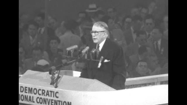 us vice president alben barkley standing at rostrum speaking animatedly / barkley finishes speech / two shots of barkley standing at rostrum /... - sam rayburn stock videos and b-roll footage
