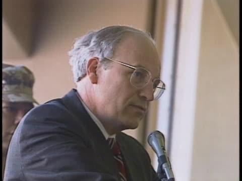 vice president dick cheney addresses u.s. troops in saudi arabia. - dick cheney stock videos & royalty-free footage