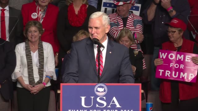Vice President Elect Mike Pence introduces US President Elect Donald Trump during the 'thank you tour