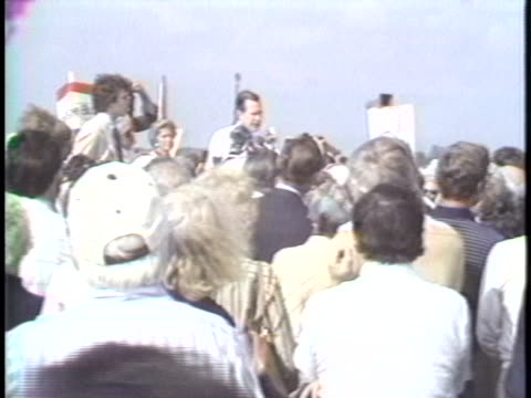 vice president george h. w. bush says instant communication and instant reaction at political rallies is very important for positive press coverage... - 副代表点の映像素材/bロール