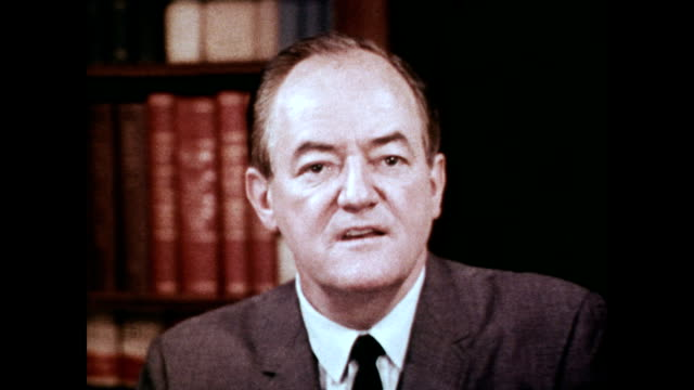 vídeos y material grabado en eventos de stock de / vice president hubert humphrey thanks mr marshall for his story about an elderly man and his medicare story / vice president talks into camera... - medicare