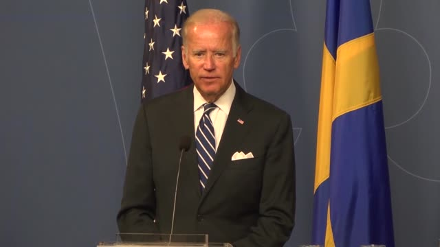 S Vice President Joe Biden and Swedish Prime Minister Stefan Lofven attend a joint press conference following their meeting at the Rosenbad...