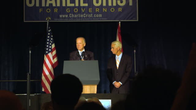 vice president joe biden campaigns with former florida governor and now democratic gubernatorial candidate charlie crist during a campaign event at... - vice president stock videos and b-roll footage