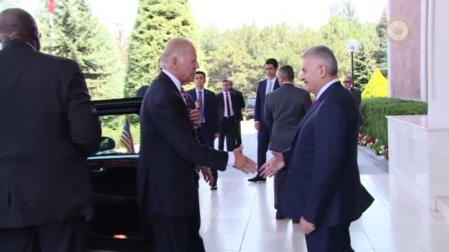 vice president joe biden meets with turkish prime minister binali yildirim at cankara palace in ankara, turkey on august 24, 2016. - diplomacy stock videos & royalty-free footage