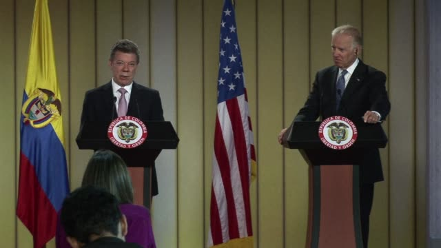 vice president joe biden said that us support for colombias peace process with marxist rebels remained solid after talks in bogota with president... - juan manuel santos stock videos & royalty-free footage