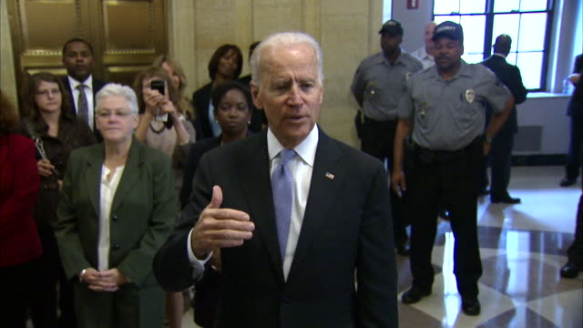 stockvideo's en b-roll-footage met vice president joe biden says that the 2013 government shutdown was unnecessary before welcoming staff members of the environmental protection agency... - united states and (politics or government)