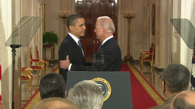 """vice president joe biden says """"the greatest wealth is health"""" and introduces president barack obama at the affordable care act signing in washington... - 2010 stock videos & royalty-free footage"""