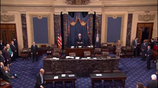 stockvideo's en b-roll-footage met vice president joseph biden gavels in the senate for the new congress first session followed by senate chaplain admiral barry black to deliver the... - senaat verenigde staten