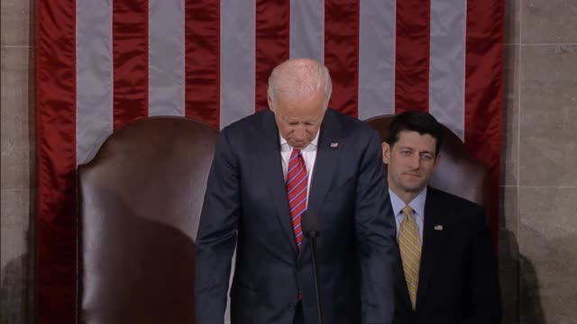 vice president joseph biden reads the result of tallies made by tellers appointed from the house and senate finalizing the election of donald trump... - senate stock videos & royalty-free footage