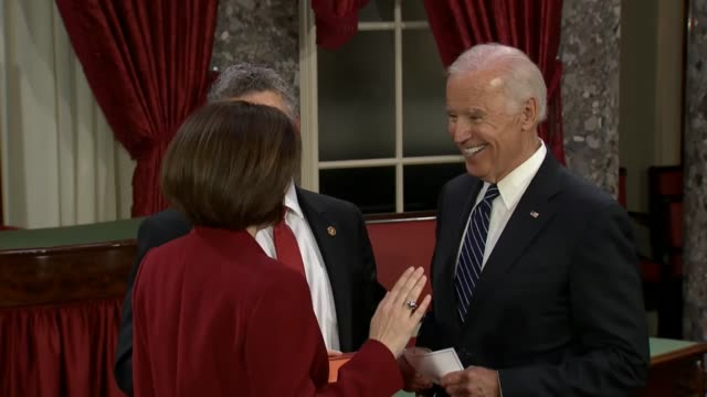 vice president joseph biden swears in new senators maggie hassan from new hampshire, catherine cortez masto from nevada, and kamala harris from... - oath stock videos & royalty-free footage