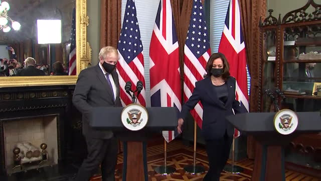 vice president kamala harris and prime minister boris johnson preparing to speak to the press at the white house - symbol stock videos & royalty-free footage
