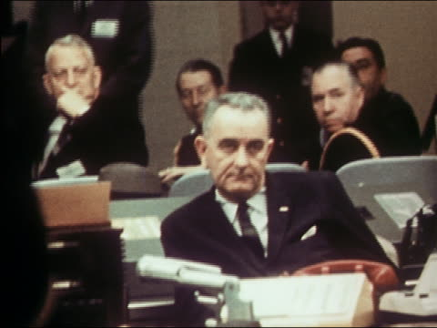 US vice president Lyndon B Johnson in session at NATO headquarters / Norfolk Virginia