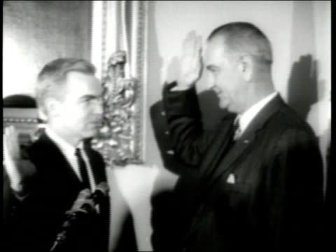 us vice president lyndon b johnson swearsin new us senators j howard edmondson abraham ribicoff peter dominick daniel inouye and edward ted kennedy - senator stock videos & royalty-free footage