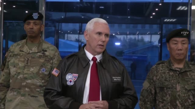 vidéos et rushes de vice president mike pence, addressed media in a press conference held in the freedom house at the joint security area in panmunjom, south korea / the... - arme de destruction massive