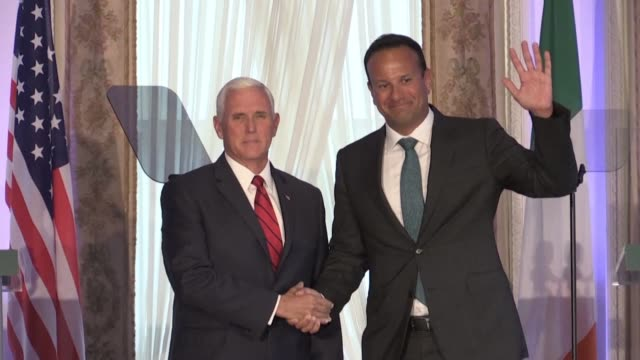 us vice president mike pence and irish prime minister leo varadkar outline their stances on brexit as the divorce process threatens to force a... - leo varadkar stock videos and b-roll footage