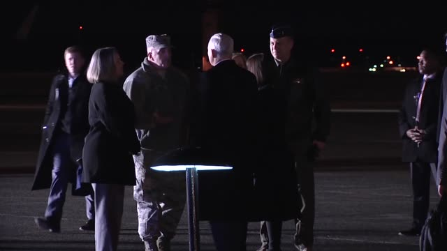 Vice President Mike Pence and second lady arrive at Yokota Air base on 6 February 2018 as he begins his tour of Japan and the Republic of Korea