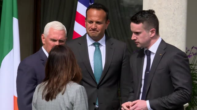 vice president mike pence and second lady karen pence meet with taoiseach leo varadkar and his partner dr. matthew barrett in dublin, ireland. - united states and (politics or government) stock videos & royalty-free footage