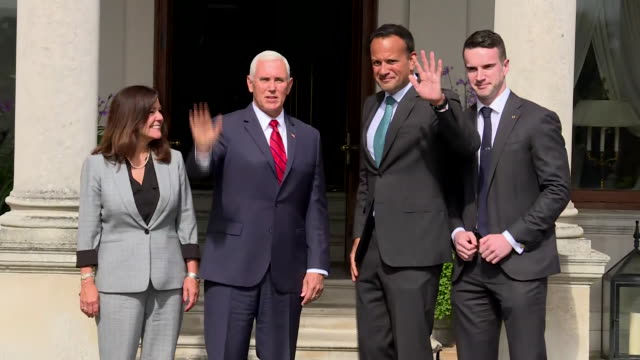 vice president mike pence and second lady karen pence pose for photos with taoiseach leo varadkar and his partner dr. matthew barrett in dublin,... - united states and (politics or government) stock videos & royalty-free footage