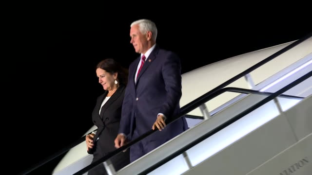 vice president mike pence and second lady karen pence step off air force two in london, england. - united states and (politics or government) stock videos & royalty-free footage