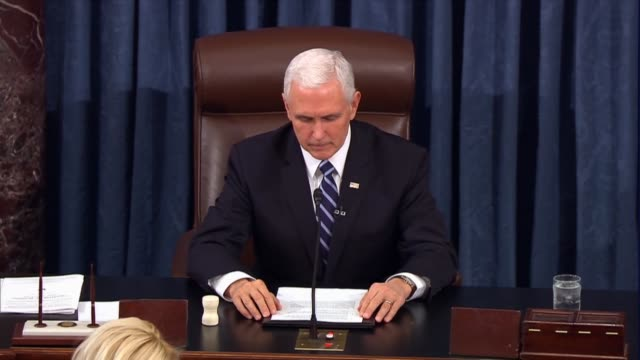 vice president mike pence announces the certificate of election was received from the state of florida for former governor rick scott, who walks the... - senate stock videos & royalty-free footage