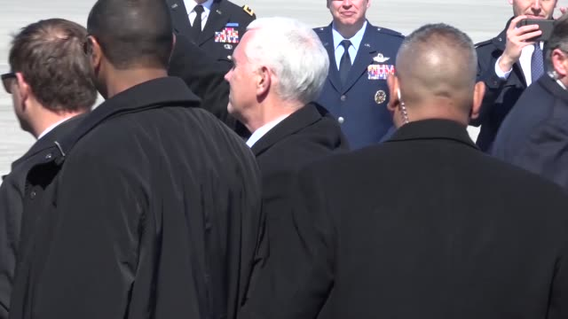 Vice President Mike Pence arrives at the 119th Wing North Dakota Air National Guard on March 27 2018