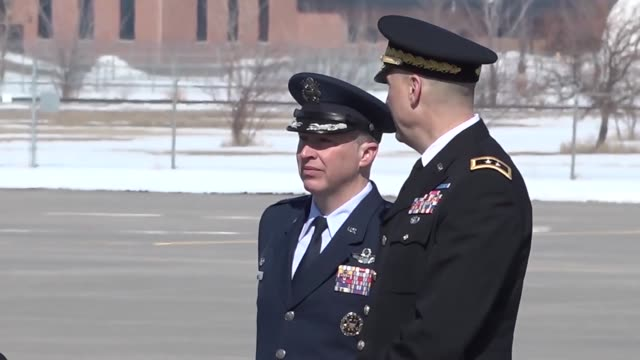vice president mike pence arrives at the 119th wing north dakota air national guard on march 27 2018 - bodyguard stock videos & royalty-free footage