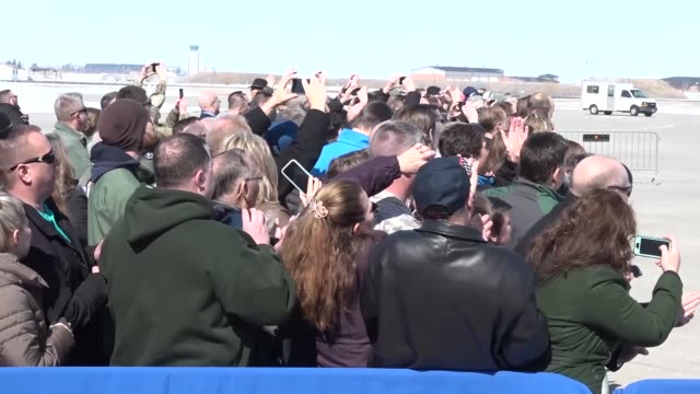 vice president mike pence arrives at the 119th wing north dakota air national guard on march 27 2018 - präsident stock-videos und b-roll-filmmaterial