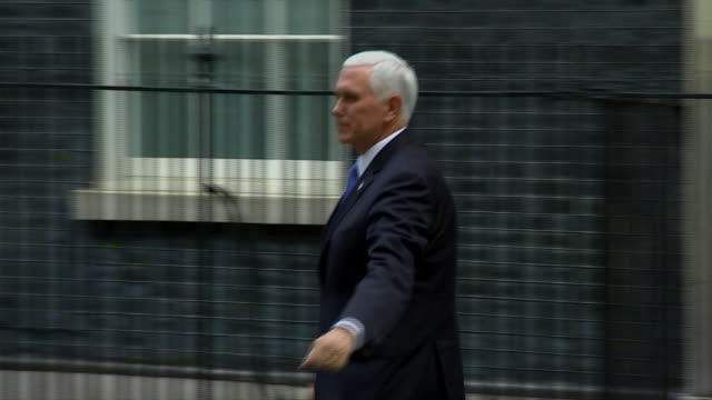 vice president mike pence leaves 10 downing street after meeting with british prime minister boris johnson in london, england. - united states and (politics or government) stock videos & royalty-free footage