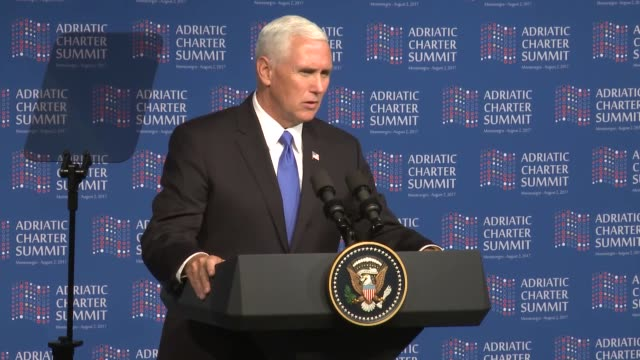 """vice president mike pence on wednesday said montenegro's recent nato membership showed the alliance had """"opened the door and will always be open to... - montenegro stock videos & royalty-free footage"""