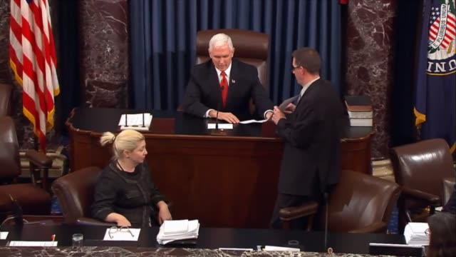stockvideo's en b-roll-footage met vice president mike pence presided in the senate to announce passage of hr 1 the tax cuts and jobs act by a vote of 5149 after a week of debate on... - republikeinse partij vs