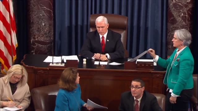 vice president mike pence presides over the senate, announcing over disruptive protesters in the gallery the 51-48 vote. audio muffled as republicans... - senate stock videos & royalty-free footage