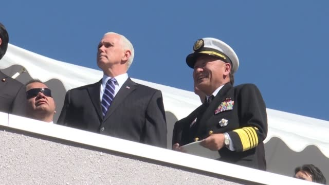 US Vice President Mike Pence receives a briefing on the PAC3 anti missile defense system in Tokyo ahead of his trip to Seoul and the Winter Olympic...