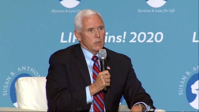 vice president mike pence says at a susan b anthony list life wins discussion that several decisions by the supreme court should mobilize and... - carolina del nord stato usa video stock e b–roll