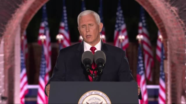 vice president mike pence says in remarks to the 2020 republican national convention at fort mchenry that were president donald trump cut taxes joe... - climate finance stock videos & royalty-free footage