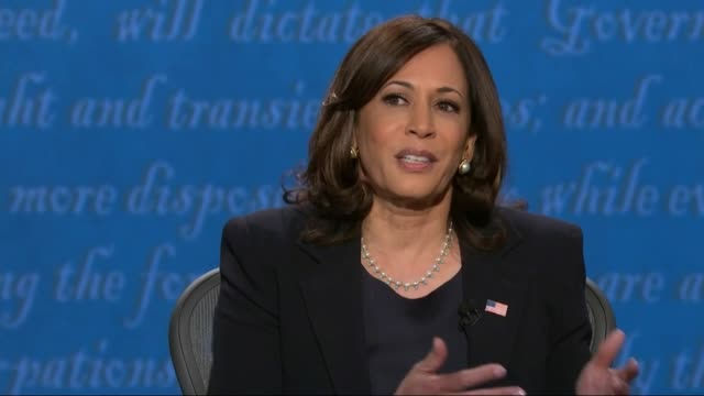 vidéos et rushes de vice president mike pence says in televised debate with california senator kamala harris there when he looked at her plan with joe biden talking... - salt lake city