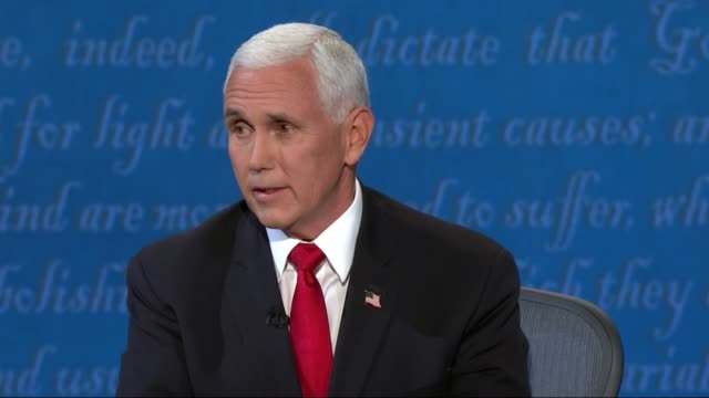 vice president mike pence says in televised debate with california senator kamala harris that she and joe biden put the united states back in paris... - paris agreement stock videos & royalty-free footage