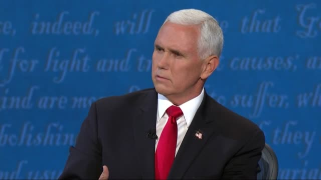 vice president mike pence says in televised debate with california senator kamala harris that he and president donald trump cannot be more... - supreme court justice stock videos & royalty-free footage