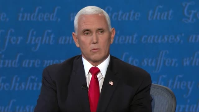 vice president mike pence says in televised debate with california senator kamala harris that the trump administration has spared no expense to help... - senate stock videos & royalty-free footage