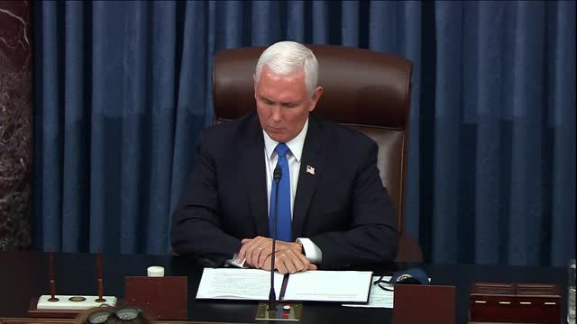 vice president mike pence says on reconvening the senate for electoral college objection debate after a recess under security threat posed by... - vandalism stock videos & royalty-free footage