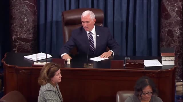 vice president mike pence says the senate equally divided he would break a 49-49 tie on cloture limiting debate on eighth circuit judicial nominee... - senate stock videos & royalty-free footage