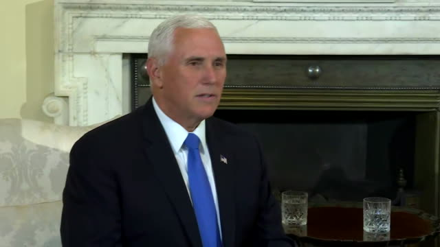 vice president mike pence says òthe united states supports the united kingdomõs decision to leave the european unionó during a meeting with british... - united states and (politics or government) stock videos & royalty-free footage