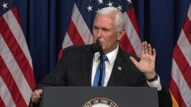 vice president mike pence tells delegates at the 2020 republican national convention in charlotte that he was absolutely convinced folded they needed... - carolina del nord stato usa video stock e b–roll