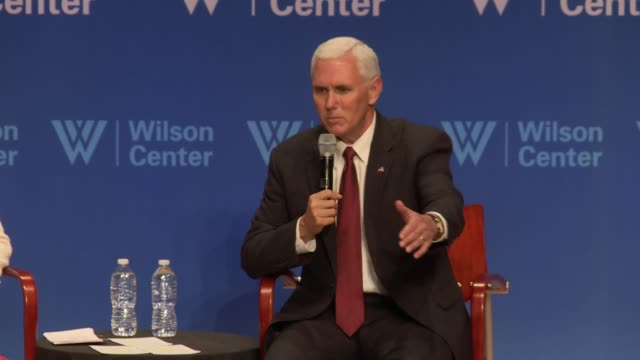 US Vice President Mike Pence tries to clarify Donald Trump's foreign policy saying that yes its America First but not America Alone Wilson Center /...