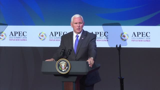 stockvideo's en b-roll-footage met us vice president mike pence uses an asia pacific regional summit to pillory china's opaque chequebook diplomacy in a combative speech - financieel item