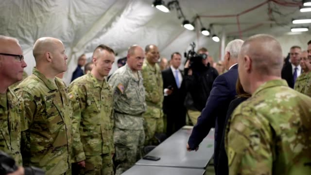 Vice President Mike Pence visits with 38th Infantry Division soldiers in Indianapolis Indiana to meet and celebrate Armed Forces Day broll footage...