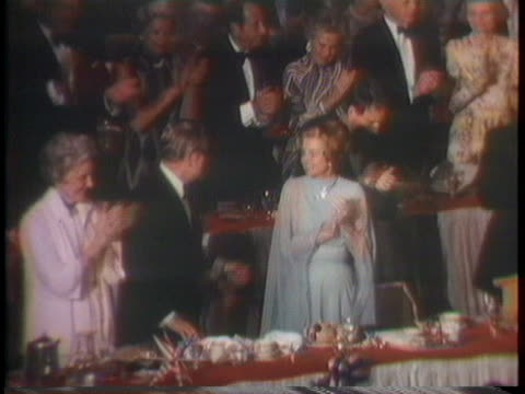 vice president nelson rockefeller kisses first lady betty ford at an gala dinner - dinner lady stock videos & royalty-free footage
